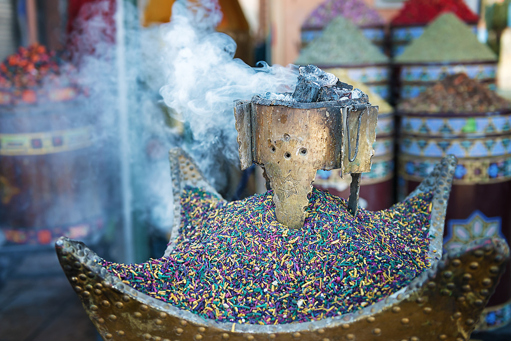 Incense burning on coal in the medina of Marrakech, Morocco.