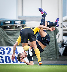 Livingston Jason Talbot upends Falkirk's Will Vaulks.<br /> Falkirk 1 v 1 Livingston, Scottish Championship game today at The Falkirk Stadium.<br /> &copy; Michael Schofield.