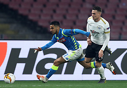 February 21, 2019 - Rome, Italy - SSC Napoli v FC Zurich - UEFA Europa League Round of 32.Adam Ounas of Napoli and Benjamin Kololli of Zurich at San Paolo Stadium in Naples, Italy on February 21, 2019. (Credit Image: © Matteo Ciambelli/NurPhoto via ZUMA Press)