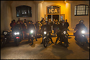 BIKERS LEAVING THE ICA, Private view, Paul Simonon- Wot no Bike, ICA Nash and Brandon Rooms, London. 20 January 2015