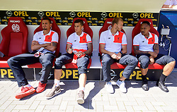 MAINZ, GERMANY - Sunday, August 7, 2016: Liverpool's Dejan Lovren, Philippe Coutinho Correia, Ragnar Klavan and Nathaniel Clyne before a pre-season friendly match against FSV Mainz 05 at the Opel Arena. (Pic by David Rawcliffe/Propaganda)