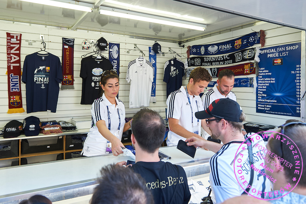 Official Adidas store during the 2014/15 UEFA Champions League Final between Juventus and FC Barcelona at Olympiastadion on June 6, 2015 in Berlin, Germany.<br /> Germany, Berlin, June 6, 2015<br /> <br /> Picture also available in RAW (NEF) or TIFF format on special request.<br /> <br /> For editorial use only. Any commercial or promotional use requires permission.<br /> <br /> Adam Nurkiewicz declares that he has no rights to the image of people at the photographs of his authorship.<br /> <br /> Mandatory credit:<br /> Photo by &copy; Adam Nurkiewicz / Mediasport