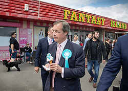 © Licensed to London News Pictures. 18/05/2019. Canvey Island, UK. Brexit Party leader Nigel Farage campaigns for the European Elections in Canvey Island, Essex. The European Elections are being held on Thursday 23rd May. Photo credit: Peter Macdiarmid/LNP