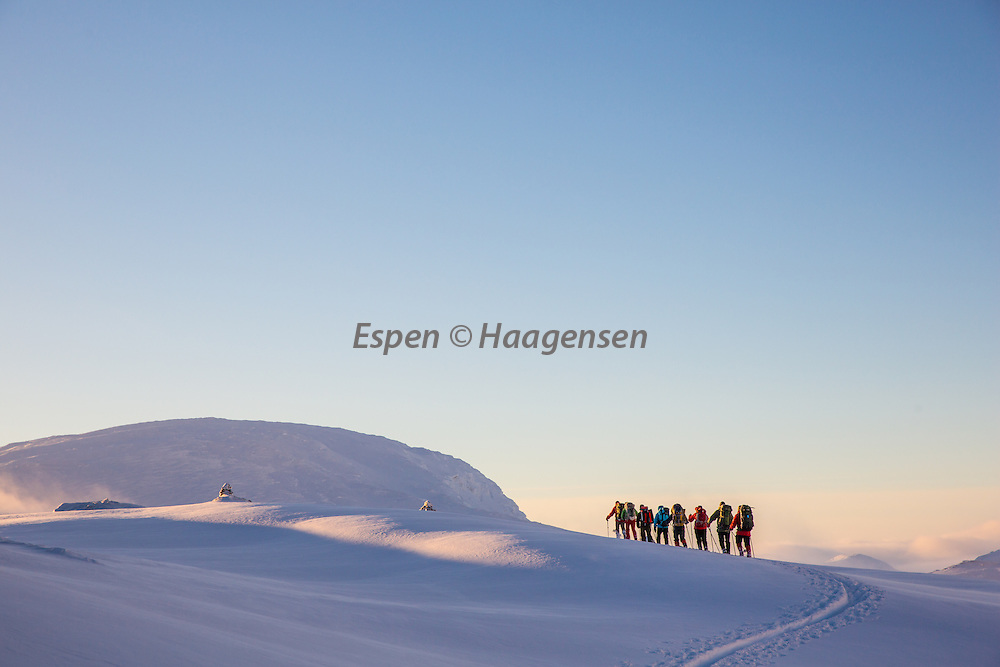 Gone skiing. A group on their way to the hut Demmevass.