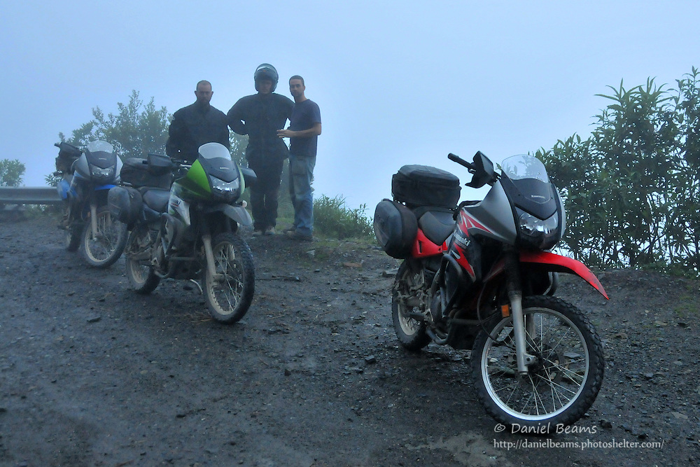 """Motorcyclists on top of the """"World's Most Dangerous Road"""" near La Paz, Bolivia"""