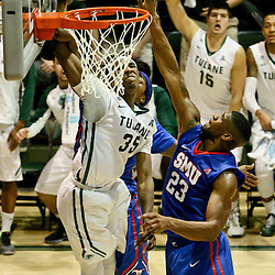 Jan 17, 2016; New Orleans, LA, USA; Tulane Green Wave guard Melvin Frazier (35) shoots over Southern Methodist Mustangs forward Jordan Tolbert (23) during the second half of a game at the Devlin Fieldhouse. Southern Methodist defeated Tulane 60-45. Mandatory Credit: Derick E. Hingle-USA TODAY Sports