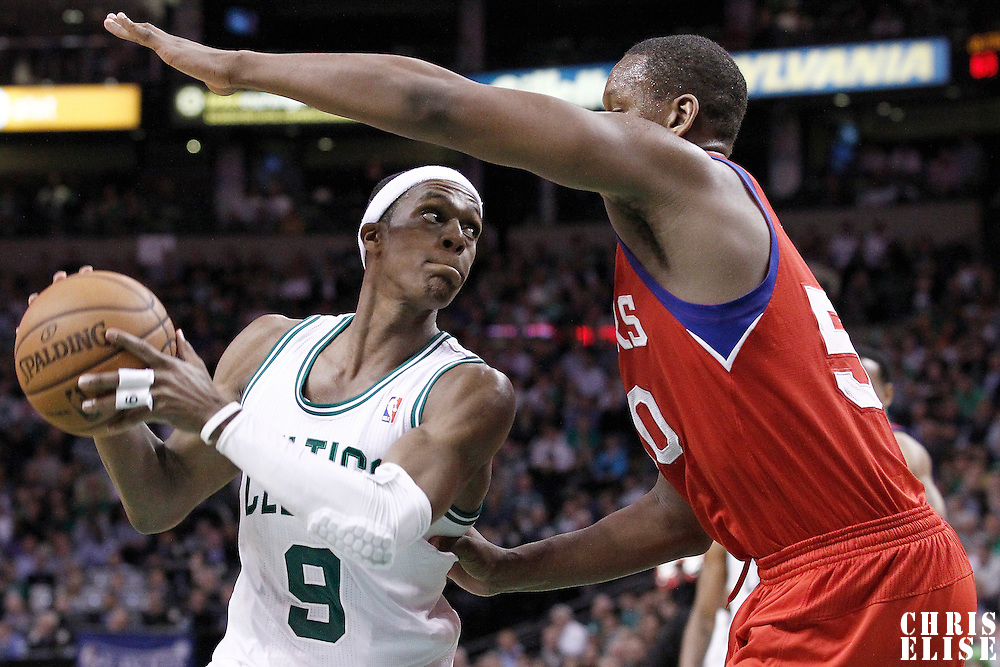 14 May 2012: Boston Celtics point guard Rajon Rondo (9) looks to pass the ball past Philadelphia Sixers power forward Lavoy Allen (50) during the Philadelphia Sixers 82-81 victory over the Boston Celtics, in Game 2 of the Eastern Conference semifinals playoff series, at the TD Banknorth Garden, Boston, Massachusetts, USA.
