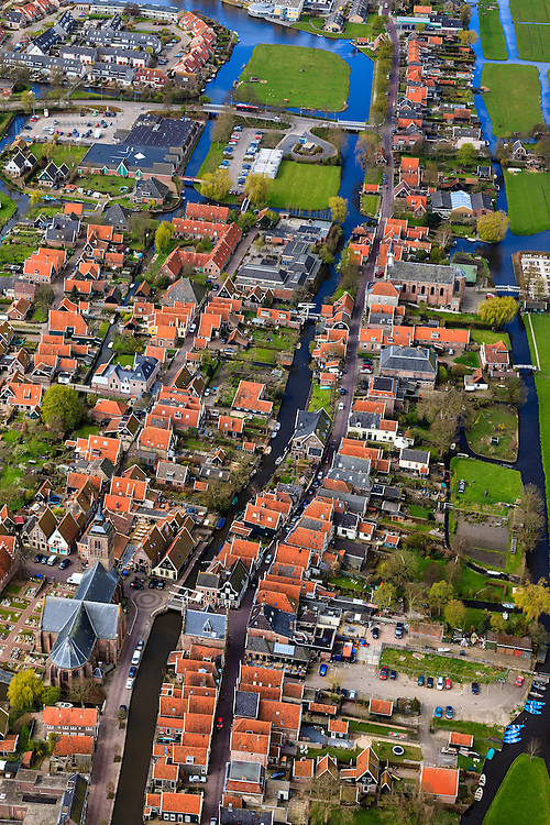 Nederland, Noord-Holland, Graft-De Rijp, 16-04-2012; De Rijp, Rechtestraat   overgaand in Westeinde .View on the old town of De Rijp with church  in the polder Beemster..luchtfoto (toeslag), aerial photo (additional fee required).foto/photo Siebe Swart