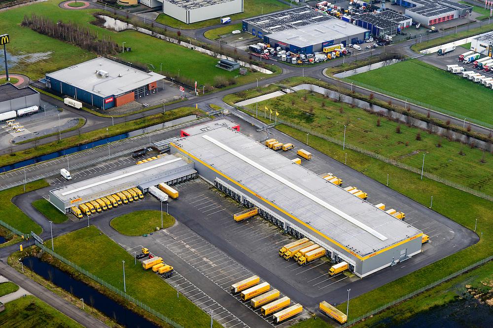 Nederland, Friesland, Drachten, 28-02-2016; bedrijventerrein Drachten Azeven, met onder andere een vestiging van DHL. Gelegen nabij knooppunt Drachten (A7/N31).<br /> Drachten Azeven business park, including a branch of DHL.<br /> <br /> luchtfoto (toeslag op standard tarieven);<br /> aerial photo (additional fee required);<br /> copyright foto/photo Siebe Swart