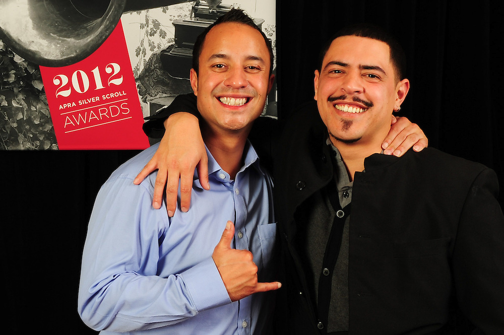 Te Awanui Reeder and David Atai, winners of the APRA Maioha Award, at the APRA Silver Scroll Awards 2012. Auckland Town Hall. 13 September 2012.