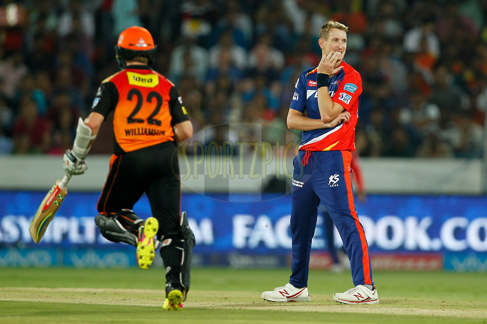 Christopher Morris of Delhi Daredevils reacts during match 42 of the Vivo IPL 2016 (Indian Premier League ) between the Sunrisers Hyderabad and the Delhi Daredevils held at the Rajiv Gandhi Intl. Cricket Stadium, Hyderabad on the 12th May 2016<br /> <br /> Photo by Deepak Malik / IPL/ SPORTZPICS