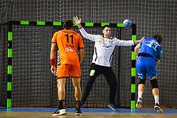 Jure Dolenec of Slovenia vs Gerrie Eijlers of Nederland during friendly handball match between Slovenia and Nederland, on October 25, 2019 in Športna dvorana Hardek, Ormož, Slovenia. Photo by Blaž Weindorfer / Sportida