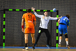 Jure Dolenec of Slovenia vs Gerrie Eijlers of Nederland during friendly handball match between Slovenia and Nederland, on October 25, 2019 in Športna dvorana Hardek, Ormož, Slovenia. Photo by Blaž Weindorfer / Sportida