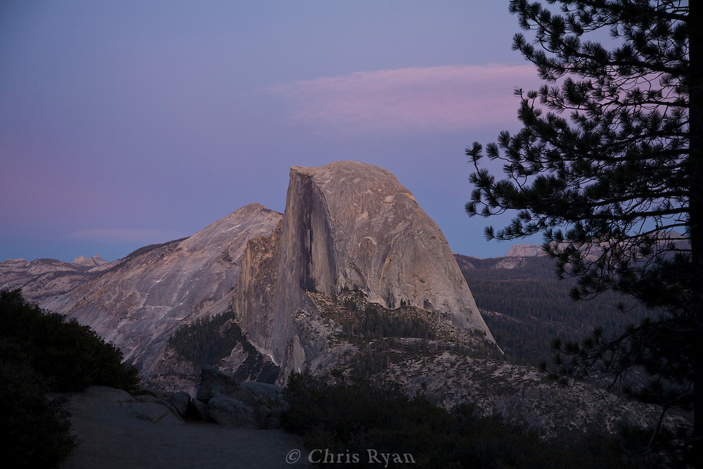 View of Half Dome at dusk from Glacier Point, Yosemite National Park, California