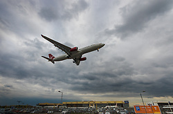 A Virgin Atlantic Airbus A330 on final approach at London's Heathrow Airport (LHR / EGLL).