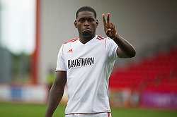 Bristol City's Jay-Emmanuel Thomas does a peace gesture - Photo mandatory by-line: Dougie Allward/JMP - Tel: Mobile: 07966 386802 27/03/2013 - SPORT - FOOTBALL - Goldsands Stadium - Bournemouth -  Bournemouth V Bristol City - Pre Season friendly