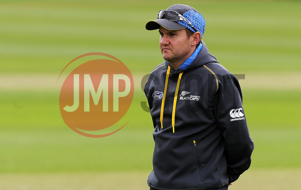 New Zealand Head Coach Mike Hesson looks on - Photo mandatory by-line: Harry Trump/JMP - Mobile: 07966 386802 - 07/05/15 - SPORT - CRICKET - New Zealand Training - The County Ground, Taunton, England.