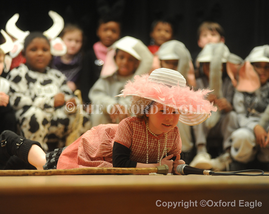 "Students in Angel Kendrick's and Mrs. Treloar's class at Bramlett Elementary perform ""There Was An Old Lady Who Swallowed A Fly"" on Friday, February 5, 2010, in Oxford, Miss."