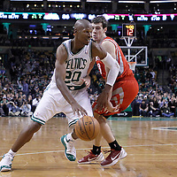 06 March 2012: Boston Celtics shooting guard Ray Allen (20) drives past Houston Rockets point guard Goran Dragic (3) during the Boston Celtics 97-92 (OT) victory over the Houston Rockets at the TD Garden, Boston, Massachusetts, USA.