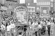 Allerton Silkstone and Wistow banners. 1988 Yorkshire Miner's Gala. Wakefield.