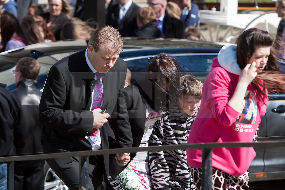 © Licensed to London News Pictures. 17/04/2014. Edinburgh, Scotland. Abbie Wallis, Keane's Mother attended the Funeral. Keane Wallis Bennett funeral took place today at Morton Hall Crematorium Edinburgh. 12-year-old Keane Wallis-Bennett, died after a wall fell on her at Liberton High School in Edinburgh. Photo credit : Duncan McGlynn/LNP