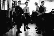 The Jo Boxers. Stood in a cafe. 1980s