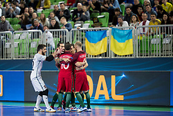 Players of Portugal celebrate goal during futsal match between National teams of Ukraine and Portugal at Day 6 of UEFA Futsal EURO 2018, on February 4, 2018 in Arena Stozice, Ljubljana, Slovenia. Photo by Urban Urbanc / Sportida