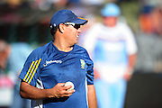 Russell Domingo coach of South Africa during the 2015 KFC T20 International Series cricket match between South Africa and West Indies at the Kingsmead Stadium in Durban on the 14th of January 2015<br /> <br /> ©Sabelo Mngoma/BackpagePix