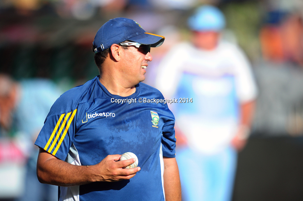 Russell Domingo coach of South Africa during the 2015 KFC T20 International Series cricket match between South Africa and West Indies at the Kingsmead Stadium in Durban on the 14th of January 2015<br /> <br /> &copy;Sabelo Mngoma/BackpagePix