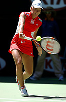 MELBOURNE, AUSTRALIA - JANUARY 19:  Justine Henin-Hardenne of Belgium in action against Olivia Lukaszewicz of Australia during day one of the Australian Open January 19, 2004 in Melbourne, Australia. (Photo by Lars Mueller/Sportsbeat) *** Local Caption *** Justine Henin-Hardenne