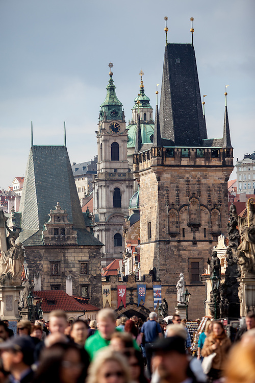 View across Charles Bridge to the Lesser Town of Prague (Mala Strana in Czech language).