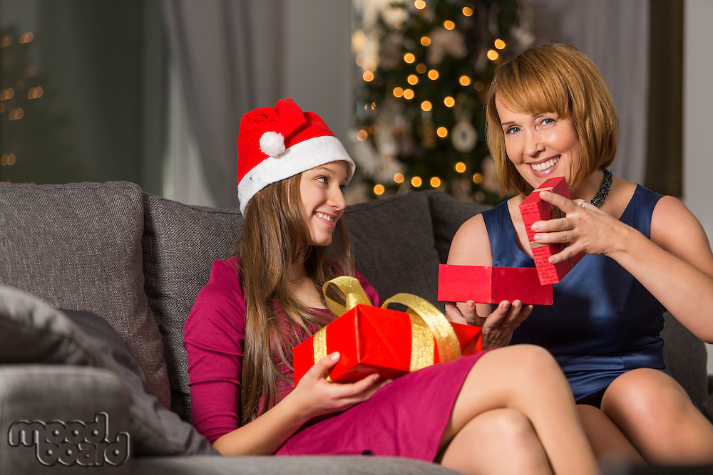 Portrait of happy woman giving Christmas present to daughter at home