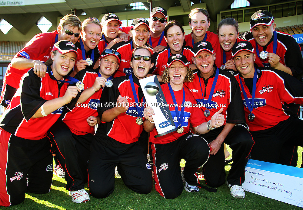 The Canterbury Magicians celebrate winning the 2009 State League trophy.<br /> State League final. Wellington Blaze v Canterbury Magicians at Allied Prime Basin Reserve, Wellington. Saturday, 24 January 2009. Photo: Dave Lintott/PHOTOSPORT