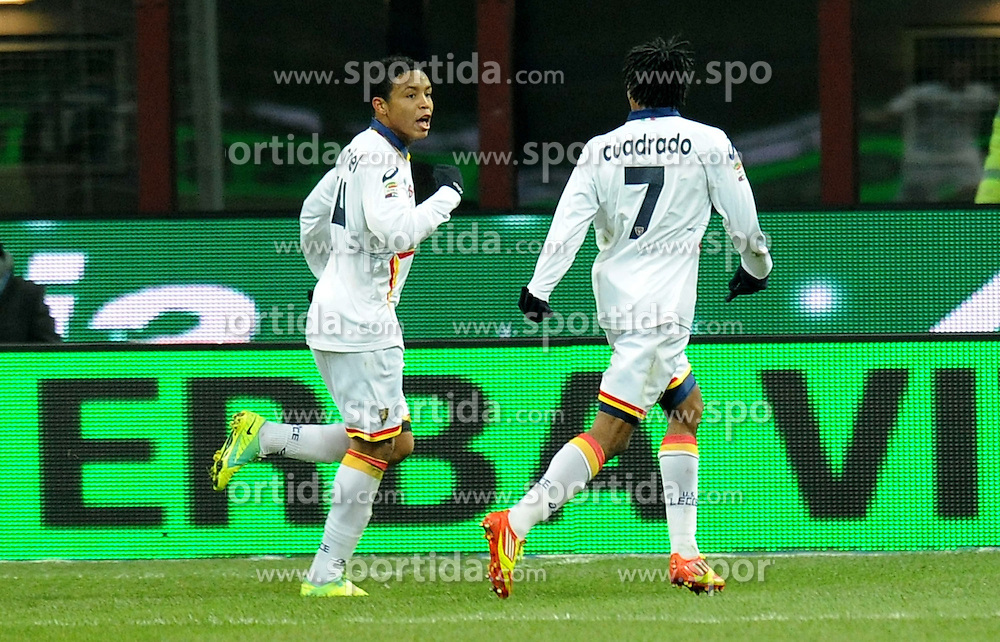 21.12.2011, Stadion Giuseppe Meazza, Mailand, ITA, Serie A, Inter Mailand vs US Lecce, 16. Spieltag, im Bild ESULTANZA DOPO IL GOL DI lUIS MURIEL (Lecce) GOAL CELEBRATION // during the football match of Italian 'Serie A' league, 16th round, between Inter Mailand and US Lecce at Stadium Giuseppe Meazza, Milan, Italy 2011/12/21. EXPA Pictures © 2011, PhotoCredit: EXPA/ Insidefoto/ Alessandro Sabattini..***** ATTENTION - for AUT, SLO, CRO, SRB, SUI and SWE only *****