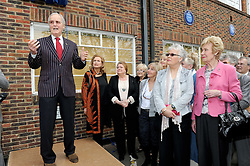 © Licensed to London News Pictures. 19/05/2013.Morecambe and Wise Plaque unveiling..Teddington Studios London  Plaque unveiling to Eric Morecambe and Ernie Wise (19.05.2013)..Nicholas Parsons talking to the guests, including Eric Morecambe's daughter & wife, Gail & Joan Morecambe. .Photo credit :Grant Falvey/LNP