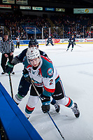 KELOWNA, CANADA - JANUARY 5: Nolan Volcan #26 of the Seattle Thunderbirds back checks James Hilsendager #2 of the Kelowna Rockets at the boards on January 5, 2017 at Prospera Place in Kelowna, British Columbia, Canada.  (Photo by Marissa Baecker/Shoot the Breeze)  *** Local Caption ***