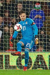 CARDIFF, WALES - Tuesday, November 14, 2017: Wales' goalkeeper Daniel Ward during the international friendly match between Wales and Panama at the Cardiff City Stadium. (Pic by David Rawcliffe/Propaganda)
