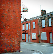 UK. Manchester. Salford. A fish and chip shop in the Langworthy area of Salford which is being redeveloped..