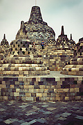 Buddhist stone monument in Borobudur, Indonesia.