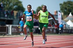PRADO Lucas Guide: MARTINS Lorenzo Alves, BRA, 100m, T11, 2013 IPC Athletics World Championships, Lyon, France