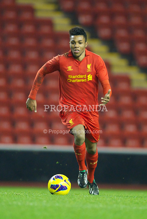 LIVERPOOL, ENGLAND - Thursday, February 28, 2013: Liverpool's Jerome Sinclair in action against Leeds United during the FA Youth Cup 5th Round match at Anfield. (Pic by David Rawcliffe/Propaganda)