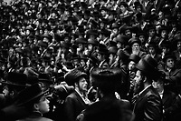 """Borough Park, Brooklyn, New York. Synagogue of the Congregation Shaarei Zion of Bobov. Jewish men sing to celebrate the wedding of Zvi Tauber, nephew of Gran Rabbi Ben Zion Halberstam, referred as """"Bobov 48"""". On Shabbat, Jewish holidays or other festive occasions cylindrical fur hats called """"shtreimel"""" are worn by married men, while beaver hats (though made of rabbit) are worn by unmarried men. Thousands of people, part of this community, were invited to celebrate the public wedding.  Gianni Cipriano, cell +1 646 465 2168 (USA), +39 328 567 7923 (Italy), gianni@giannicipriano.com , www.giannicipriano.com"""