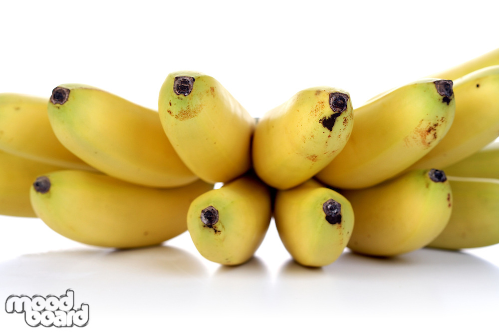 Buch of bananas on white background