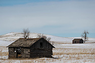 An old wooden building in west-central North Dakota on Monday, Feb. 26, 2018.
