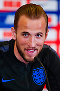 Harry Kane (Tottenham Hotspur) speaking during the England press conference ahead of the UEFA EURO 2020 qualifier against the Czech Republic at St George's Park National Football Centre, Burton-Upon-Trent, United Kingdom on 19 March 2019.