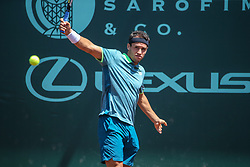 April 11, 2018 - Houston, TX, U.S. - HOUSTON, TX - APRIL 11: Nicolas Kicker (ARG) hits a backhand during the second round of the US Men's Clay Court Championship on April 11, 2018 at River Oaks Country Club in Houston, Texas. (Photo by George Walker/Icon Sportswire) (Credit Image: © George Walker/Icon SMI via ZUMA Press)