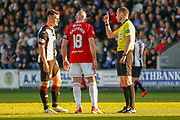 Match Referee William Collum has to have words with Danny Mullen of St Mirren & Darian MacKinnon (c) of Hamilton during the Ladbrokes Scottish Premiership match between St Mirren and Hamilton Academical FC at the Paisley 2021 Stadium, St Mirren, Scotland on 13 May 2019.