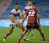 Alex Mellor of Huddersfield Giants and Tinirau Arona of Wakefield Trinity during the Betfred Super League match at the John Smiths Stadium, Huddersfield<br /> Picture by Richard Land/Focus Images Ltd +44 7713 507003<br /> 27/07/2018