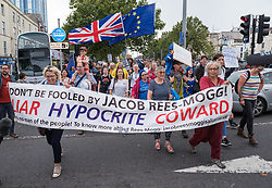 """© Licensed to London News Pictures. 31/08/2019. Bristol, UK. Several thousand protesters take part in the Stop the Coup march through Bristol city centre against the proroguing of Parliament. Many also chanted that """"no one voted for Boris"""". There were some EU flags in the city that voted in the referendum by a large majority against Brexit to remain in the EU. Photo credit: Simon Chapman/LNP."""