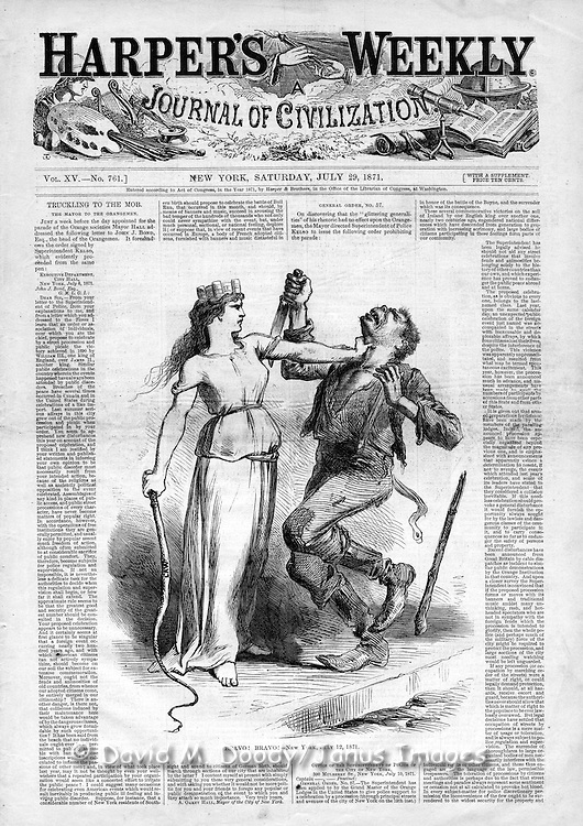 "Vintage Illustration: ""Bravo! Bravo! New York July 12, 1871"" Holding the whip of the Law in one hand Lady Liberty grasps the throat of an ape-like knife and club weilding Irishman in an anti mob violence cover of Harper's Weekly July 1871. A response to Irish Orange vs  Irish Catholic violence in New York City. Illustration probably done by Nast (unsigned, but in his distinct style.)"
